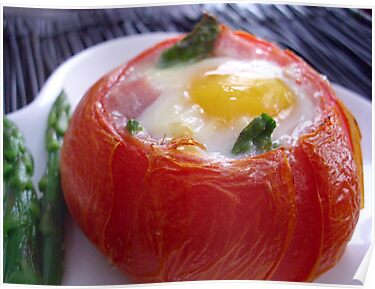Baked Eggs, Ham & Asparagus in Tomato Cups by Kimberly Morales