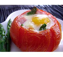 Baked Eggs, Ham & Asparagus in Tomato Cups Photographic Print