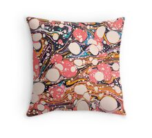 Psychedelic Retro Marbling Paper Throw Pillow