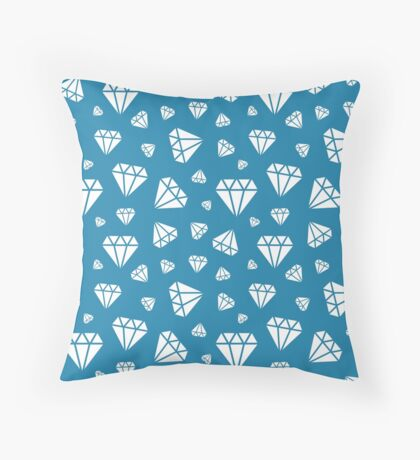 Blue Faceted Diamonds Pattern Throw Pillow
