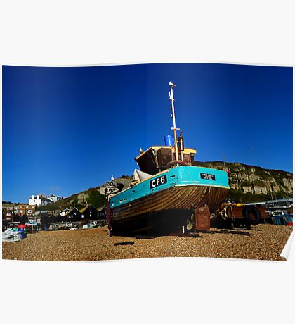 Fishing boat on Hastings Beach Poster