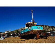 Fishing boat on Hastings Beach Photographic Print