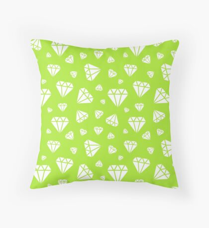 Lime Green Faceted Diamonds Pattern Throw Pillow