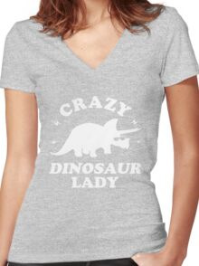 Crazy Dinosaur Lady Women's Fitted V-Neck T-Shirt