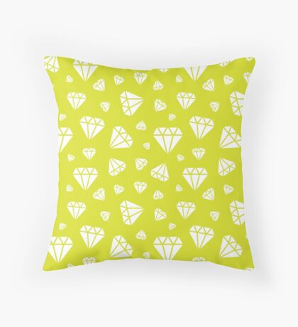 Chartreuse Faceted Diamonds Pattern Throw Pillow