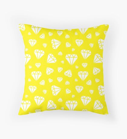 Yellow Faceted Diamonds Pattern Throw Pillow