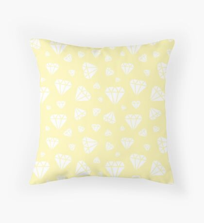Cream Faceted Diamonds Pattern Throw Pillow