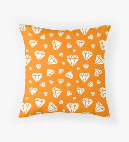 Orange Faceted Diamonds Pattern Throw Pillow