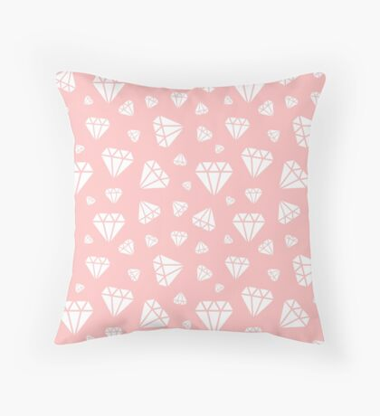 Light Pink Faceted Diamonds Pattern Throw Pillow