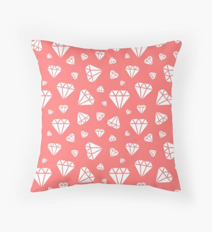 Pink Faceted Diamonds Pattern Throw Pillow