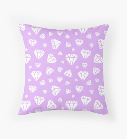 Lilac Faceted Diamonds Pattern Throw Pillow