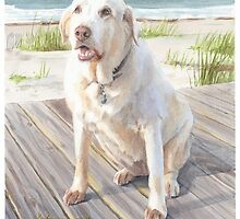 yellow lab on boardwalk watercolor by Mike Theuer