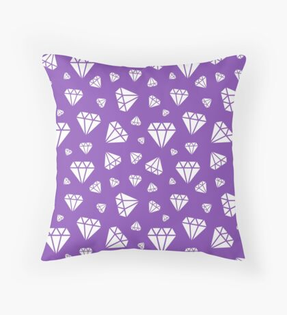 Light Purple Faceted Diamonds Pattern Throw Pillow