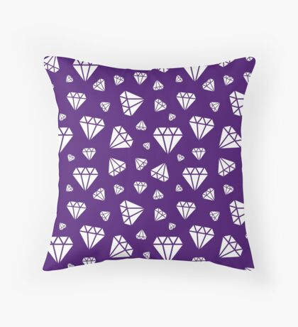 Purple Faceted Diamonds Pattern Throw Pillow