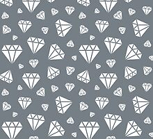 Cool Grey Faceted Diamonds Pattern by ImageNugget