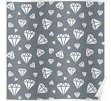 Cool Grey Faceted Diamonds Pattern Poster