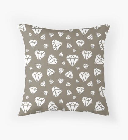 Warm Grey Faceted Diamonds Pattern Throw Pillow