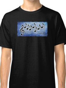 SCIENCE  - Words in Music Blue Background - V-Note Creations Classic T-Shirt