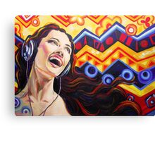 Girl listening music Canvas Print