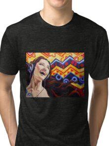 Girl listening music Tri-blend T-Shirt