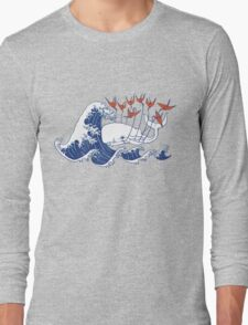Swell Whale - Japanese Waves And Origami Cranes Long Sleeve T-Shirt