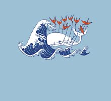 Swell Whale - Japanese Waves And Origami Cranes Unisex T-Shirt