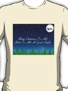 Santas Sleigh over the Moon T-Shirt