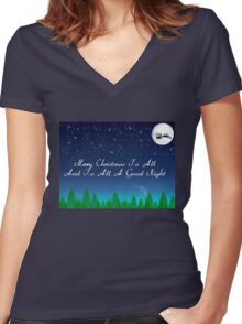Santas Sleigh over the Moon Women's Fitted V-Neck T-Shirt