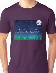 Santas Sleigh over the Moon Unisex T-Shirt