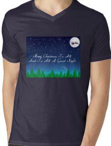 Santas Sleigh over the Moon Mens V-Neck T-Shirt