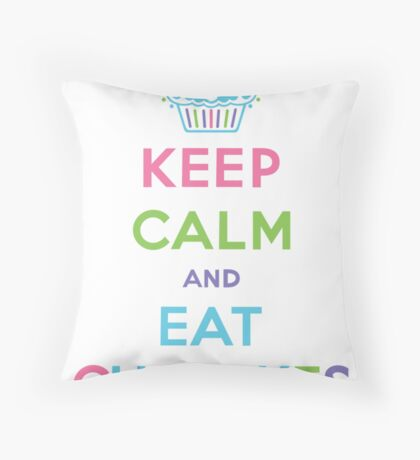 Keep Calm and Eat Cupcakes - pastel Throw Pillow