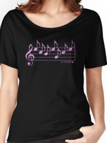 SCIENCE  - Words in Music - Fuchsia Pink -  V-Note Creations Women's Relaxed Fit T-Shirt