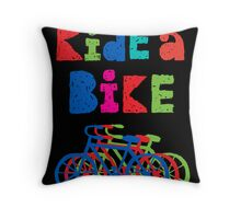 Ride a Bike - sketchy - black Throw Pillow