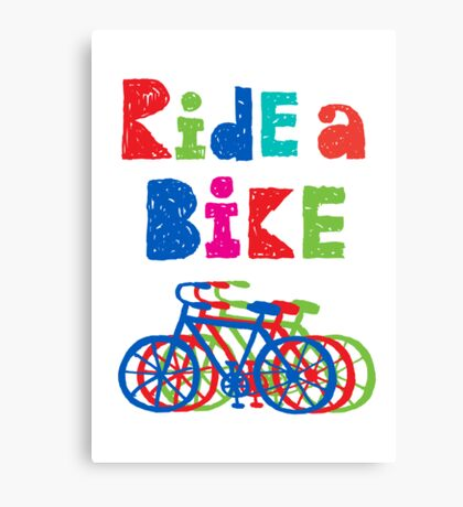 Ride a bike - sketchy - white Canvas Print