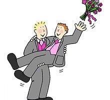 Two grooms throwing bouquet. by KateTaylor
