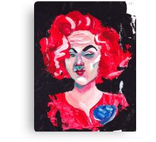 THE LADY WITH THE BLUE ROSE Canvas Print
