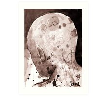 man with illustrated head Art Print