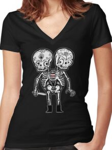 Calavera Twins Women's Fitted V-Neck T-Shirt