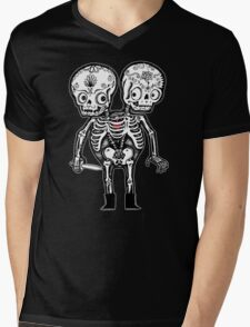 Calavera Twins Mens V-Neck T-Shirt