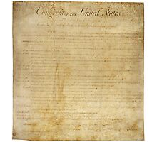 Original United States Constitution Bill of Rights December 15, 1791 Photographic Print