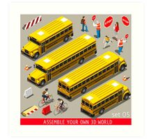 School Bus Vehicle Isometric Art Print