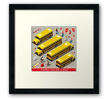 School Bus Vehicle Isometric Framed Print