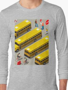 School Bus Vehicle Isometric Long Sleeve T-Shirt
