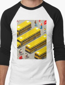 School Bus Vehicle Isometric Men's Baseball ¾ T-Shirt