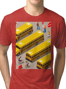 School Bus Vehicle Isometric Tri-blend T-Shirt