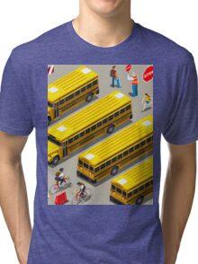 School Bus Vehicle Isometric Tri-blend T-Shirt