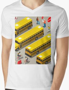 School Bus Vehicle Isometric Mens V-Neck T-Shirt