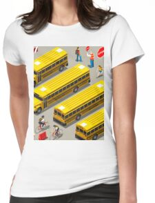 School Bus Vehicle Isometric Womens Fitted T-Shirt