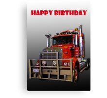 Red Kenworth Truck Happy Birthday Canvas Print