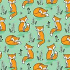 Dreamy Fox in Green by CajaDesign
